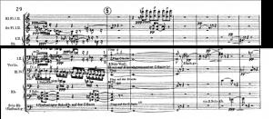 Exemplo Musical 10: Compassos 29 a 35, cifra 5, harmônicos nas cordas e motivo auxiliar nas flautas.