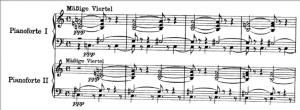 Exemplo Musical 2: Quatro primeiros compasso da redução de Farben para dois pianos, Webern, 1913.