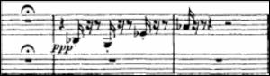 Exemplo Musical 5: Compassos 12 e 13 Harpa tocando notas de (A-1), Farben