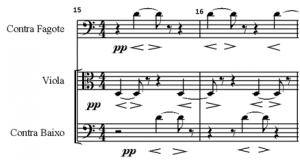 Exemplo Musical 6: Nova figuração da voz 5, compassos 15 e 16, Farben, contra fagote, viola e contra baixo.
