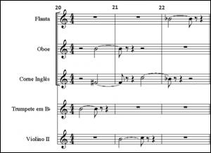 Exemplo Musical 7: Alternância de instrumentação na voz 1, em som real, flauta um, oboé, corne inglês, primeiro trompete, violinos II, compassos 20, 21 e 22, Farben.