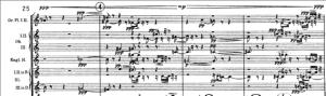 Exemplo Musical 9: Ponto culminante dinâmico. Notação de dinâmica no topo da grade e mudança gradual da figuração, compassos 25 a 28, flautas, oboés, corne inglês e clarinetes.