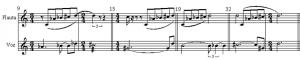 Exemplo Musical 03: Padrão da flauta deslocando sobre a série da voz nos compassos 9, 15, 19 e 32